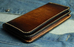 Coffee Vintage Leather Bifold Mens Large Long Wallet Leather Long Wallets for Men