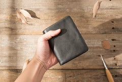 Black Leather Mens Small Wallets Trifold Vintage Short Wallet for Men