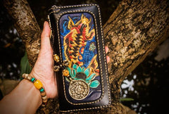 Handmade Leather Carp Mens Biker Chain Wallet Cool Leather Wallet Long Chain Wallet for Men