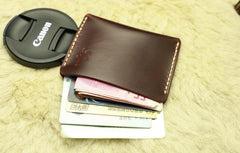 Handmade Leather Mens Slim Front Pocket Wallet Leather Small Wallets  for Men