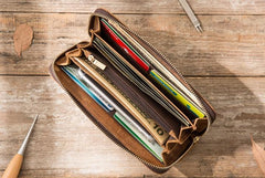 Cool Leather Mens Braided Long Zipper Clutch Wallets Long Wallet for Men