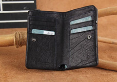 Handmade Genuine Leather Mens Cool Slim Leather Wallet Men Small Wallets Bifold for Men
