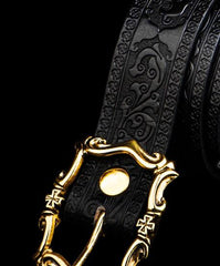 Handmade Cool Leather Mens Belt Black Leather Men Belts for Men