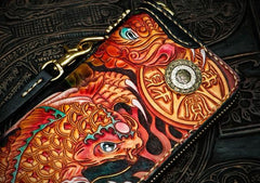 Handmade Leather Tooled Carp Mens Chain Biker Wallet Cool Leather Wallets Long Phone Wallets for Men