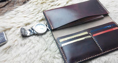 Vintage Leather Mens Bifold Long Wallet Leather Long Wallets for Men