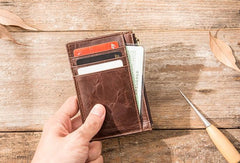 Cool Leather Mens Slim Front Pocket Wallet Small Wallets for Men