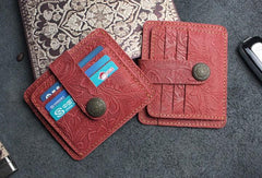 Handmade Leather Floral Mens Cool Front Pocket Wallet Short Wallet Card Holder Small Card Slim Wallets for Men
