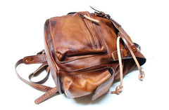 Handmade Cool Leather Mens Backpack Travel Backpacks Laptop Backpack for men