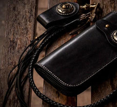 Handmade Leather Mens Chain Biker Wallet Cool Long Leather Wallet With Chain Wallets for Men