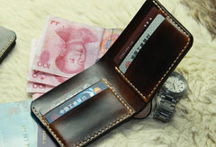 Vintage Leather Mens Slim Small Wallet Leather Small Wallets for Men