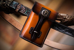 Handmade Biker Leather Belt Pouch Mens Cases Waist Bag Hip Pack Belt Bag for Men