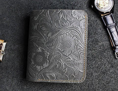 Handmade Leather Floral Mens Cool Slim Leather Wallet Men Short Wallets Bifold for Men