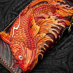 Handmade Leather Tooled Carp Mens Biker Chain Wallet Cool Leather Wallet Long Chain Wallets for Men