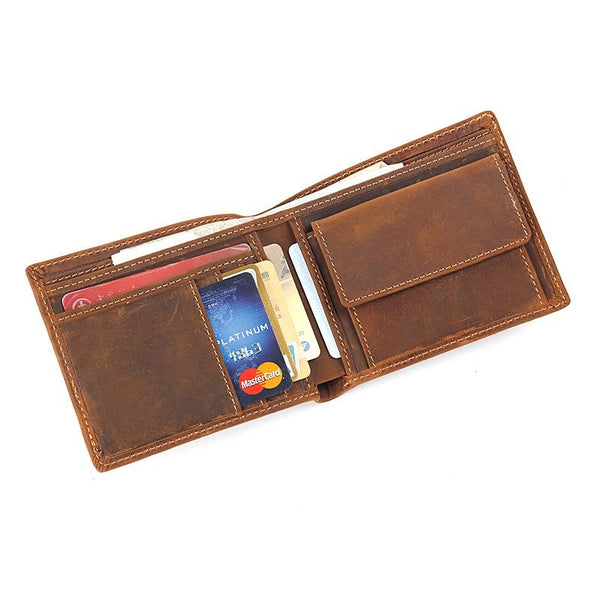 Slim Brown Leather Men's Bifold Small Wallet Short Front Pocket Wallet For Men