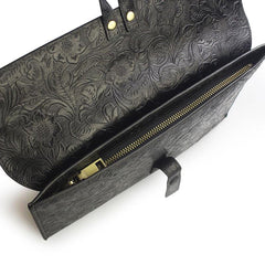 Handmade Leather Floral Tooled Mens Clutch Cool Slim Wallet Zipper Clutch Wristlet Wallet for Men