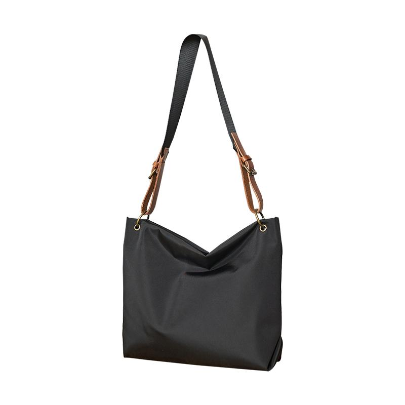 Fashion Nylon Mens Womens Black Tote Shoulder Bag Messenger Bag Messenger Tote Bag for Men Women