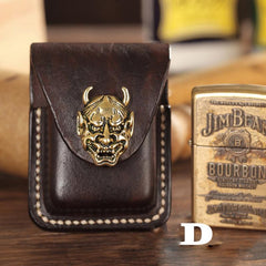 Handmade Leather Mens Zippo Lighter Case With Belt Loop Cool Dark Brown Standard Zippo Lighter Holders For Men