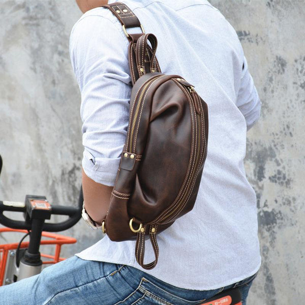 COOL LEATHER MENS SLING BAG SLING CROSSBODY BAG Chest Bag FOR MEN