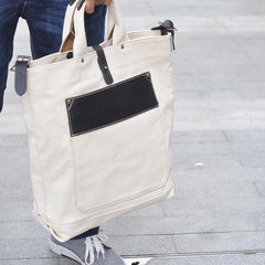 White Canvas Leather Mens Tote Handbags Messenger Bag Khaki Shoulder Tote Bag For Men and Women
