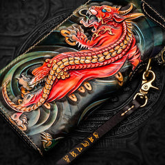 Handmade Leather Chinese Monster Mens Chain Biker Wallet Cool Long Leather Wallet With Chain Wallets for Men
