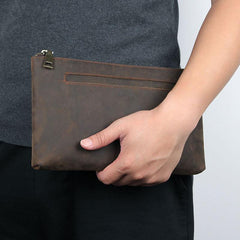 Dark Brown Leather Mens Large Business Wristlet Wallet Bag Zipper Clutch Wallet For Men