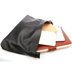 Vintage Black Soft Leather Mens Clutch Wallet Wristlet Bag Zipper Clutch Bag For Men