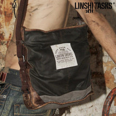 Canvas Leather Mens Gray Black Side Bag Messenger Bags Canvas Courier Bag for Men