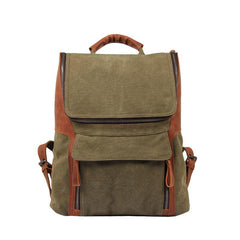 Fashion Canvas Leather Mens Large Army Green Backpack School Backpack Canvas Travel Backpack For Men