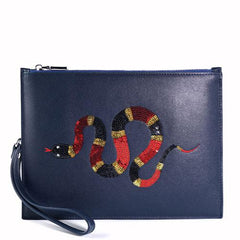 Handmade Leather Mens Clutch Snake Cool Slim Wallet Zipper Clutch Wristlet Wallet for Men