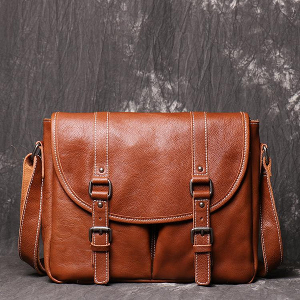 Dark Coffee Cool Leather 12 inches Small Satchel Messenger Bag Side Bag Brown Courier Bag For Men