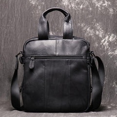 Black Leather Mens Laptop Work Bag Handbag Vertical Briefcase Shoulder Bags Black Business Bags For Men