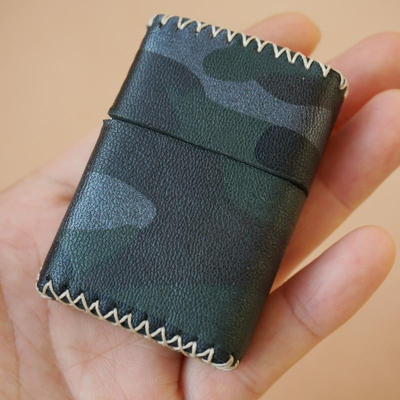 Cool Handmade Camouflage Leather Mens Classic Zippo Lighter Case Standard Zippo Lighter Holder for Men