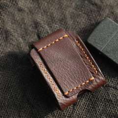 Cool Coffee Handmade Leather Mens Zippo Lighter Case Zippo Belt Loop Lighter Holders For Men