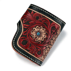 Handmade Leather Small Tooled Floral Mens Short Wallet Cool Chain Wallet Biker Wallet for Men