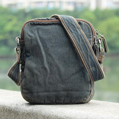 Denim Blue Mens Postman Bag Casual Small Vertical Messenger Bag Jean Courier Bag For Men