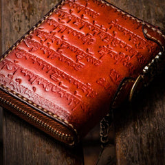 Handmade Leather Tibetan Mens Short Wallet Cool Chain Wallet Small Biker Wallet for Men