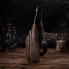 Vintage Brown Leather Men's Sling Bag 8-inches Chest Bag Vintage One shoulder Backpack For Men