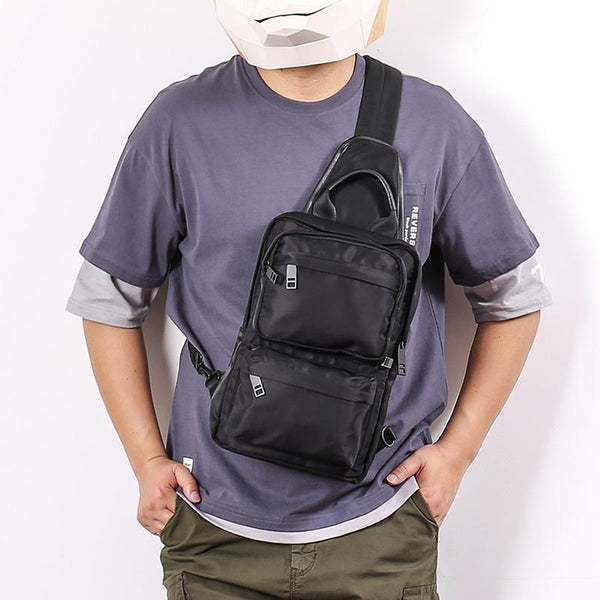 Cool Black Nylon Men's Sling Bag Chest Bag Nylon One shoulder Backpack Sling Pack For Men
