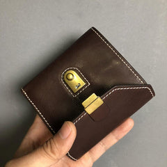 Handmade Leather Mens Cool billfold Leather Wallet Men Small Wallets Trifold for Men