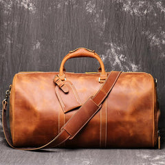 Casual Leather Men 16 inches Large Overnight Bags Travel Bags Brown Weekender Bags For Men