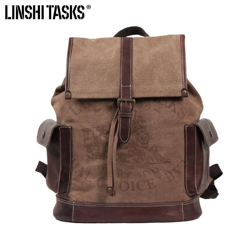 Fashion Canvas Leather Mens Backpack Computer Backpack Khaki Canvas Travel Backpack For Men
