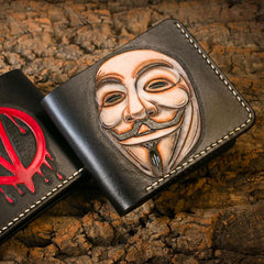 Handmade Leather V for Vendetta Tooled Mens Short Wallet Cool Leather Wallet Slim Wallet for Men