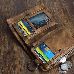 Handmade Mens Chain Biker Wallet Cool Short Leather Wallet Men Small Wallets for Men