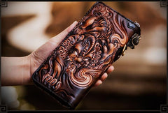 Handmade Leather Tooled Chinese Dragon Mens Chain Biker Wallet Cool Leather Wallet Long Phone Wallets for Men