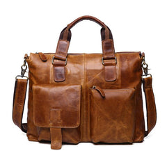 Vintage Brown Leather Men 15.6 inches Briefcase Handbag Brown Laptop Handbag Business Bag For Men