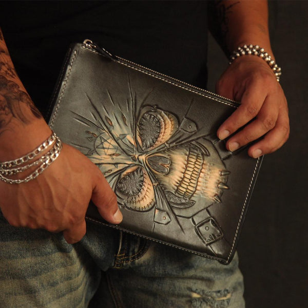 Cool Handmade Tooled Leather Black Skull Clutch Wallet Wristlet Bag Clutch Purse For Men