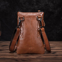 Brown Leather Men's Belt Pouch Small Shoulder Bag Side Bag Waist Bag Belt Bag For Men