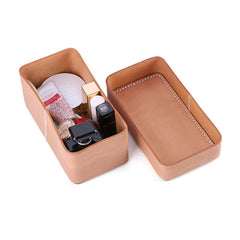 Beige Womens Leather Storage Box Portable Cosmetic Bag Multifunctional Clutch Box For Men