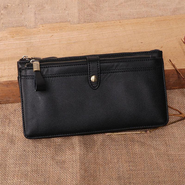Cool Leather Long Wallet for Men Vintage Double Zipper Long Wallet for Men