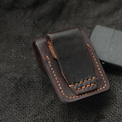 Chocolate Handmade Leather Mens Zippo Lighter Case With Belt Loop Cool Standard Lighter Holders For Men